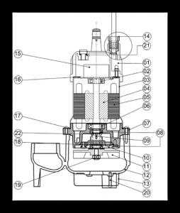 水中ポンプ B 構造図
